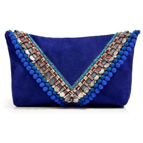 Matthew Williamson Electric Blue Suede Embellished Envelope Clutch