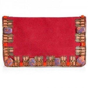 Matthew Williamson Pink Suede Embellished Clutch