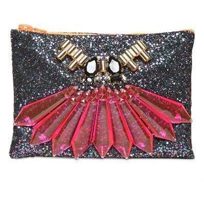Mawi Beutel mit Glitzer und Kristallen black red