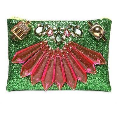 Mawi Beutel mit Glitzer und Kristallen red green