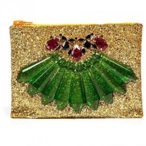Mawi Single Glitter Clutch with Green Perspex Spikes and Teardrop Crystals