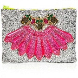 Mawi Single Glitter Clutch with Pink Perspex Spikes and Teardrop Crystals