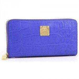 MCM First Lady Croco Geldbörse Damen Leder blau 19 cm