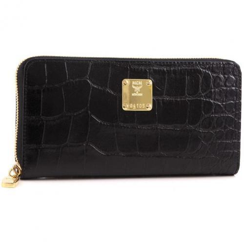 MCM First Lady Croco Geldbörse Damen Leder schwarz 19 cm