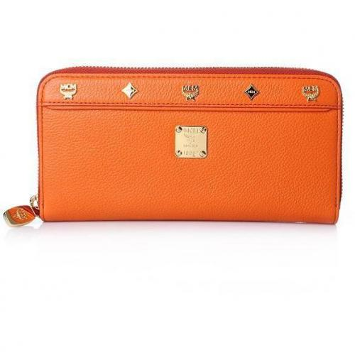 MCM First Lady Zipped Wallet Large Orange