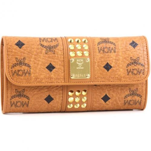 MCM Funk Rock Luxury Geldbörse Damen cognac 19 cm