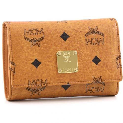 MCM Heritage Line Geldbörse Damen cognac 14 cm