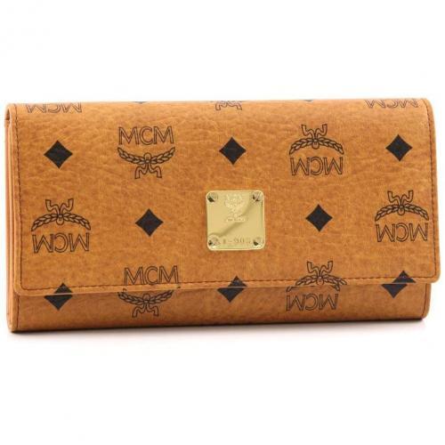 MCM Heritage Line Geldbörse Damen cognac 19 cm