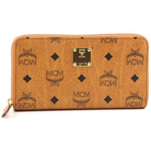 MCM Heritage Line Reißverschluss-Geldbörse Damen cognac 19 cm