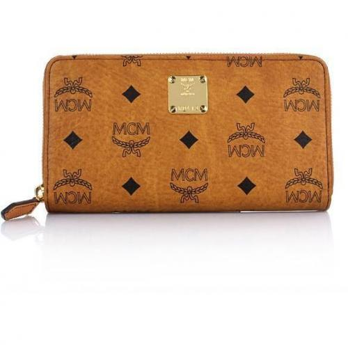 MCM Heritage Original Zipped Wallet Cognac