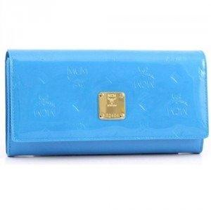 MCM Ivana Patent Geldbörse Damen Leder hellblau 17,5 cm