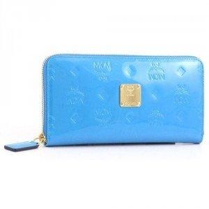 MCM Ivana Patent Geldbörse Damen Leder hellblau 19,5 cm
