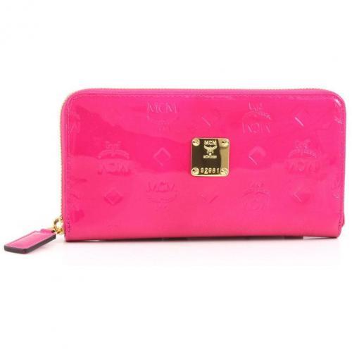 MCM Ivana Patent Geldbörse Damen Leder pink 19,5 cm