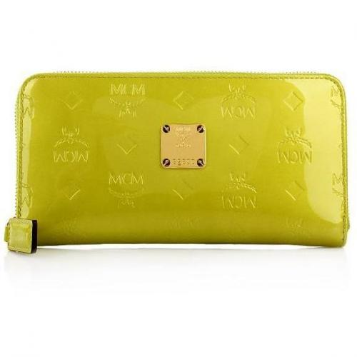 MCM Ivana Patent Zipped Wallet Large