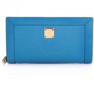 MCM Urban Styler Zipped Wallet Turquise Blue