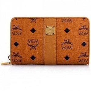 MCM Vintage Visetos Zipped Wallet Large Cognac/Orange