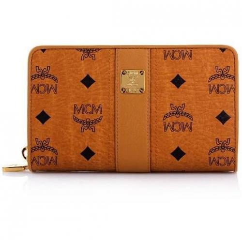 MCM Vintage Visetos Zipped Wallet Large Cognac/Orange