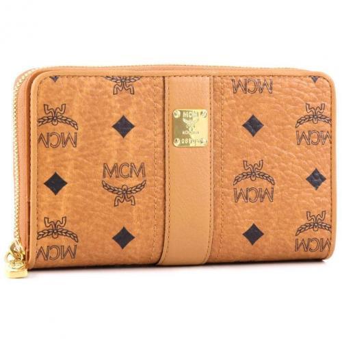 MCM Visetos Vintage Geldbörse Damen cognac 17 cm