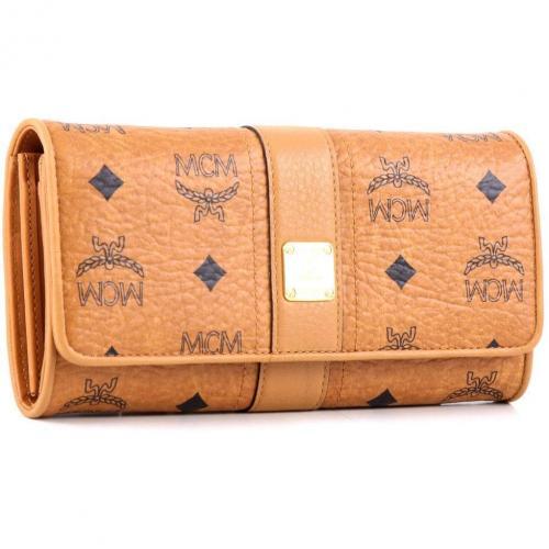 MCM Visetos Vintage Geldbörse Damen cognac 19 cm
