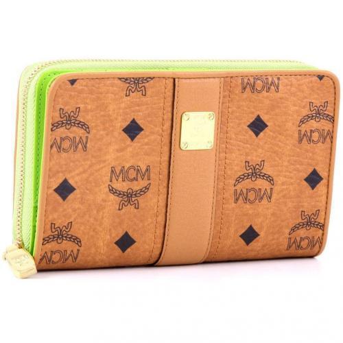 MCM Visetos Vintage Geldbörse Damen lemon 17 cm