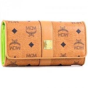 MCM Visetos Vintage Geldbörse Damen lemon 19 cm