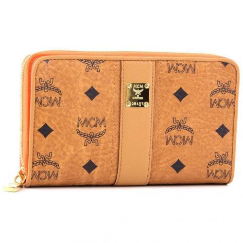 MCM Visetos Vintage Geldbörse Damen orange 17 cm