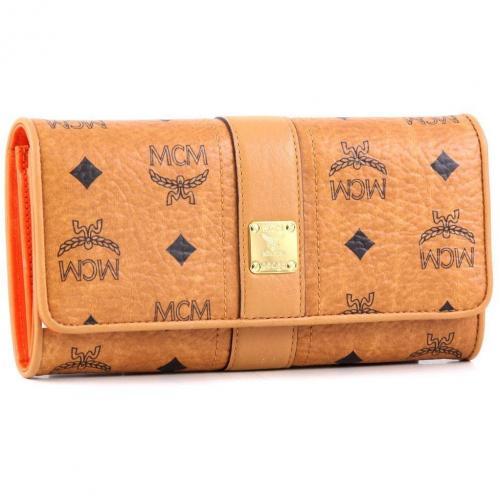 MCM Visetos Vintage Geldbörse Damen orange 19 cm