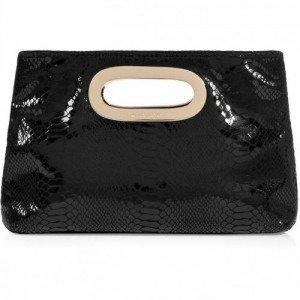 Michael Michael Kors Black Patent Embossed Leather Berkley Clutch