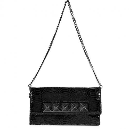 Michael Michael Kors Black Python Embossed Leather Studded Antonia Clutch