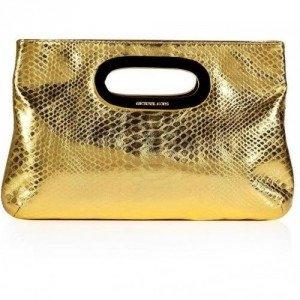 Michael Michael Kors Gold Python Embossed Leather Berkley Clutch