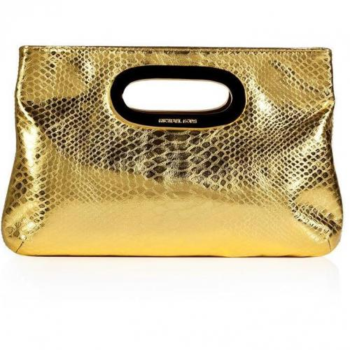 Michael Michael Kors Gold Python Embossed Leather Berkley Clutch