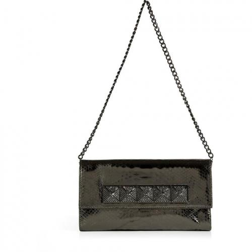 Michael Michael Kors Gunmetal Python Embossed Leather Studded Antonia Clutch