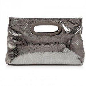 Michael Michael Kors Silver Embossed Leather Berkley Clutch