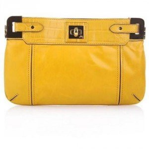 Milly Amelia Leather Clutch Mustard