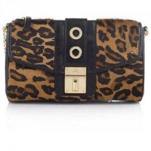 Milly Harper Haircalf Top Zip Camera Bag Brown Leopard Print