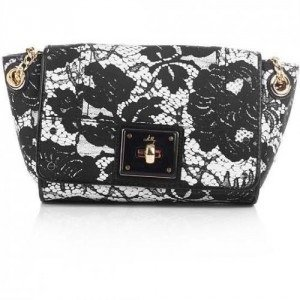 Milly Isabella Lace Print Small Flap Black&White
