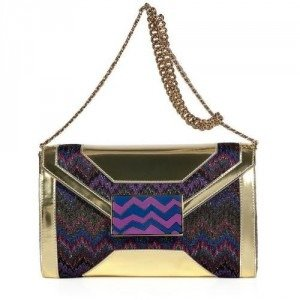 Missoni Viola Multicolor Lurex and Leather Clutch
