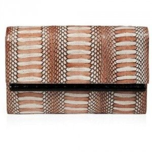 Nancy Gonzalez Blush/Nude/Black Fold-Over Crocodile Clutch