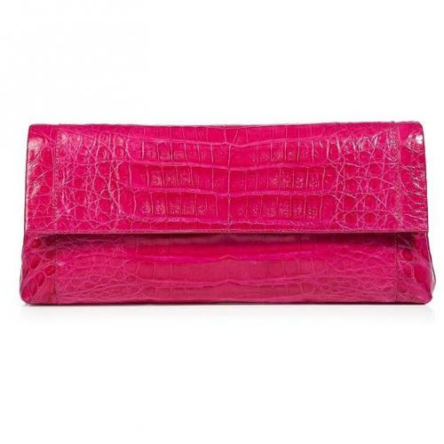 Nancy Gonzalez Bright Fuchsia Crocodile Fold-Over Clutch