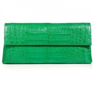 Nancy Gonzalez Bright Green Crocodile Fold-Over Clutch
