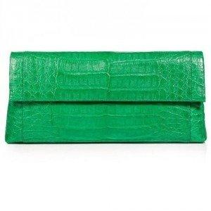 Nancy Gonzalez Bright Green Crocodile Fold-Over Clutch