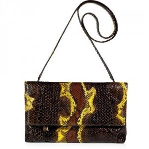 Nancy Gonzalez Chocolate and Lemon Fold-Over Python Clutch