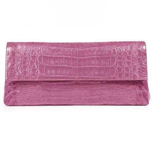 Nancy Gonzalez Lilac Crocodile Fold-Over Clutch