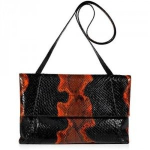 Nancy Gonzalez Onyx and Pumpkin Fold-Over Python Clutch