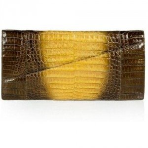 Nancy Gonzalez Pearly Bronze and Yellow Crocodile Clutch