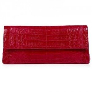 Nancy Gonzalez Shiny Crimson Red Crocodile Fold-Over Clutch