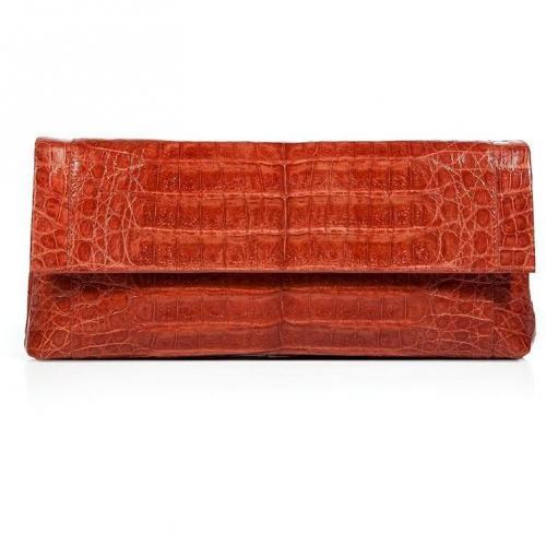 Nancy Gonzalez Shiny Orange Crocodile Fold-Over Clutch