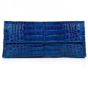 Nancy Gonzalez Shiny Royal Blue Crocodile Fold-Over Clutch