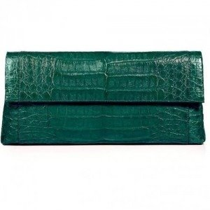 Nancy Gonzalez Shiny Spruce Crocodile Fold-Over Clutch
