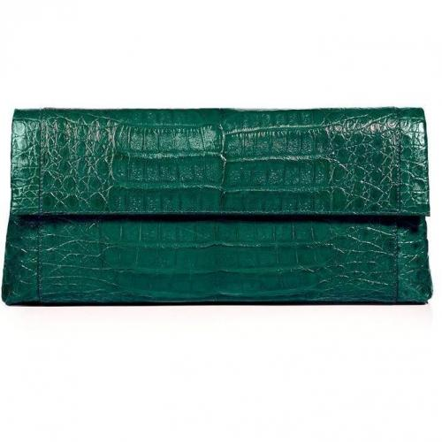 Nancy Gonzalez Shiny Spruce Crocodile Fold-Over Clutch